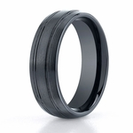Benchmark 7mm Dual Finish Comfort Fit Ceramic Ring with Grooves