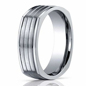 Benchmark 7mm Dual Finish Titanium Square Ring