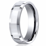 Benchmark 7mm Flat Cobalt Chrome Ring with Beveled Edges