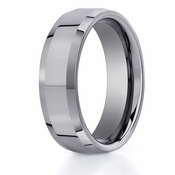 Benchmark 7mm Flat Tungsten Ring with Beveled Edges