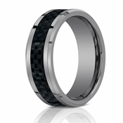 Benchmark 7mm Flat Tungsten Ring with Carbon Fiber Inlay
