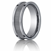 Benchmark 7mm Flat Tungsten Ring with Satin Center Groove
