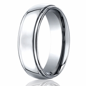 Benchmark 7mm Round Cobalt Chrome Ring with Step Edges