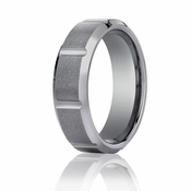 Benchmark 7mm Slotted Tungsten Ring with Polished Beveled Edges