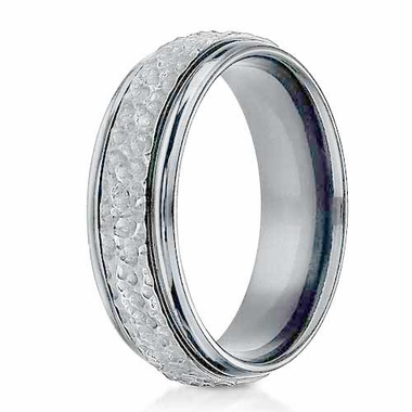 Benchmark 7mm Titanium Ring with Hammered Center