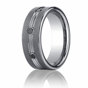 Benchmark 7mm Tungsten Ring with Black Diamonds