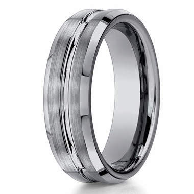 Benchmark 7mm Tungsten Ring with Groove and Beveled Edges