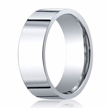 Benchmark 8mm 18K White Gold Flat Comfort Fit Wedding Band