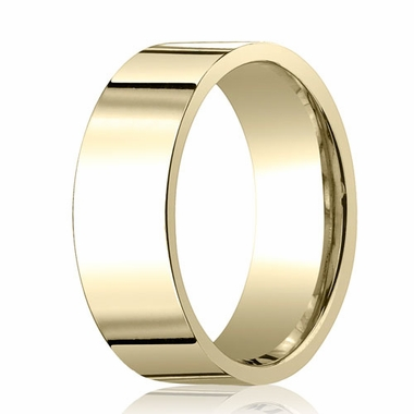 Benchmark 8mm 18K Yellow Gold Flat Comfort Fit Wedding Band