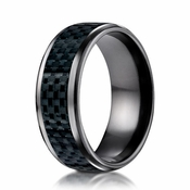 Benchmark 8mm Black Titanium Ring with Carbon Fiber Inlay