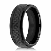Benchmark 8mm Cobalt Chrome Ring with Black Carbon Fiber
