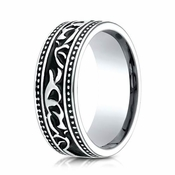 Benchmark 8mm Cobalt Chrome Ring with Scroll Pattern