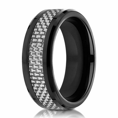Benchmark 8mm Cobalt Chrome Ring with White Carbon Fiber