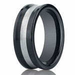 Benchmark 8mm Comfort Fit Ceramic Ring with Silver Inlay