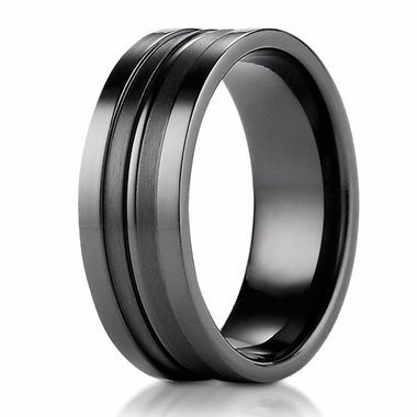 Benchmark 8mm Dual Finish Black Titanium Ring with Grooves