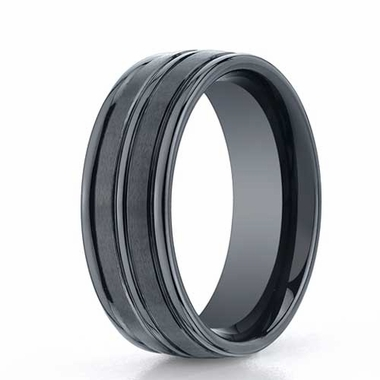 Benchmark 8mm Dual Finish Ceramic Ring with Round Edge and Center Trim