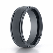 Benchmark 8mm Dual Finish Comfort Fit Ceramic Ring with Round Edge