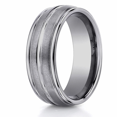 Benchmark 8mm Dual Finish Ridged Tungsten Ring
