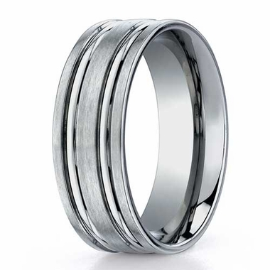 Benchmark 8mm Dual Finish Titanium Ring with Grooves