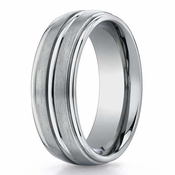 Benchmark 8mm Dual Finish Titanium Ring with Round Edges