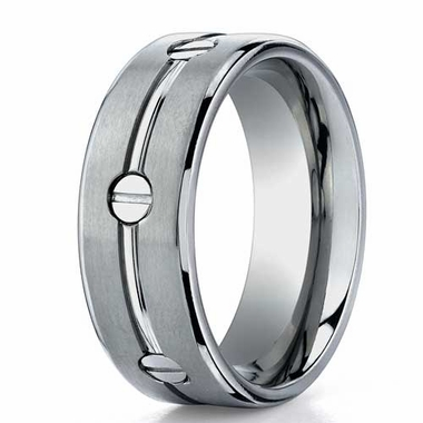 Benchmark 8mm Dual Finish Titanium Ring with Screw Design