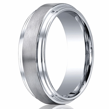 Benchmark 8mm Flat Cobalt Chrome Ring with Step Edges