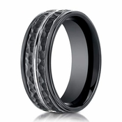 Benchmark 8mm Hammered Cobalt Chrome Ring with Groove