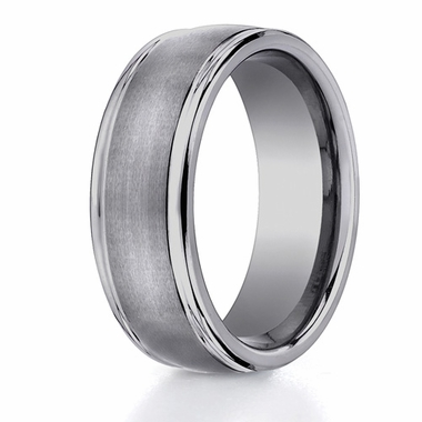 Benchmark 8mm Round Tungsten Ring with Ridged Edges