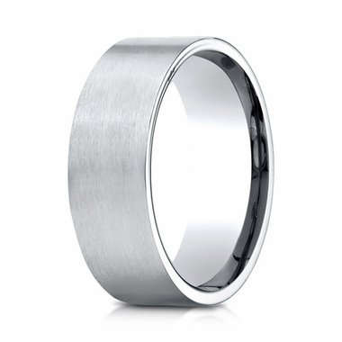 Benchmark 8mm Satin 10K White Gold Ring