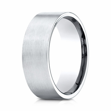 Benchmark 8mm Satin Comfort Fit Platinum Ring