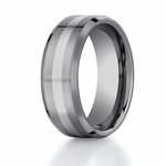 Benchmark 8mm Tungsten with 18K White Gold Ring Inlay and Beveled Edges