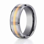 Benchmark 8mm Tungsten with 18K Yellow Gold Ring and Beveled Edges