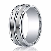 Benchmark 9mm ARGO Silver Comfort Fit Ring with Double Groove