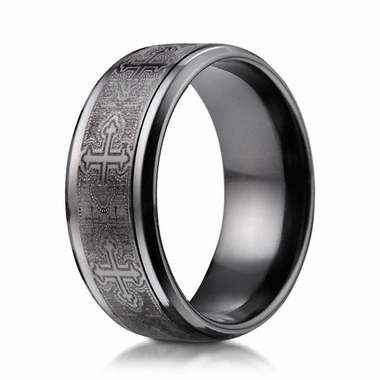 Benchmark 9mm Black Titanium Ring with Cathedral Cross Design