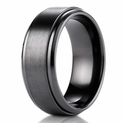 Benchmark 9mm Black Titanium Ring with Stair-Step Edge
