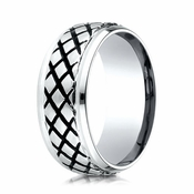Benchmark 9mm Cobalt Chrome Ring with Cross Hatch Pattern