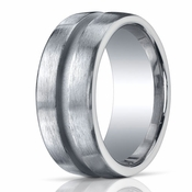 Benchmark Argentium Silver 10mm Satin Band with Center Channel