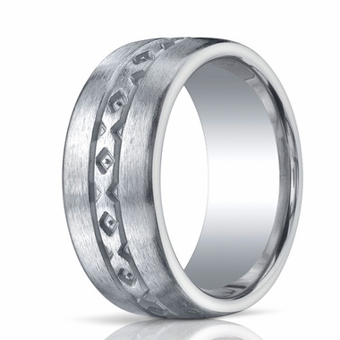 Benchmark Argentium Silver 10mm Satin X-Pattern Band