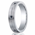 Benchmark Argentium Silver 5mm Pave Set 6-Stone Black Diamond Band (.12ct)