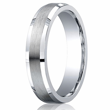 Benchmark Argentium Silver 5mm Satin Band with Beveled Edges