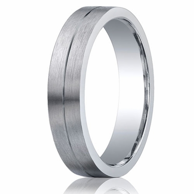 Benchmark Argentium Silver 5mm Satin Flat Band with Groove