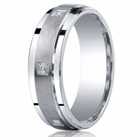Benchmark Argentium Silver 7mm Pave Set 6-Stone Diamond Band (.12ct)