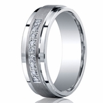 Benchmark Argentium Silver 7mm Pave Set 9-Stone Diamond Band (.18ct)
