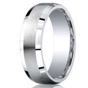 Benchmark Argentium Silver 7mm Satin Band with Beveled Edges