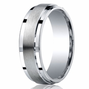 Benchmark Argentium Silver 7mm Satin Band with Step Edges