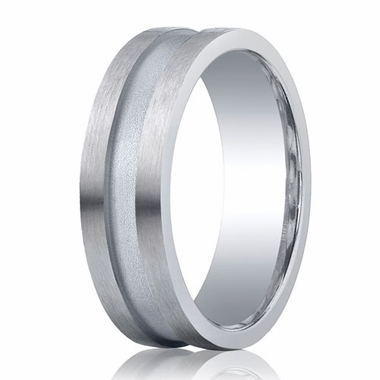 Benchmark Argentium Silver 7mm Satin Center Channel Band