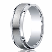 Benchmark Argentium Silver 7mm Satin Center with Milgrain Band