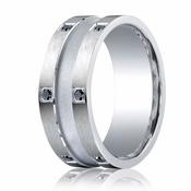 Benchmark Argentium Silver 9mm 12-Stone Black Diamond Band with Center Channel(.24ct)