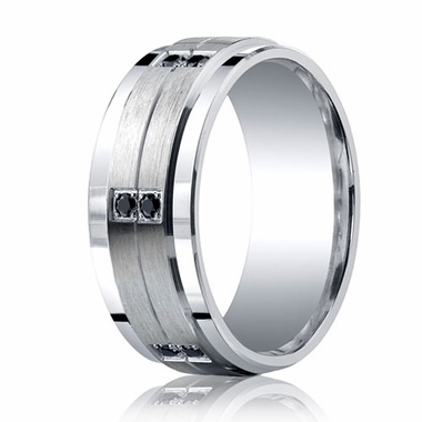 Benchmark Argentium Silver 9mm 12-Stone Black Diamond Band with Step Edges(.24ct)