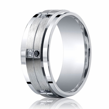 Benchmark Argentium Silver 9mm 12-Stone Black & White Diamond Band (.24ct)